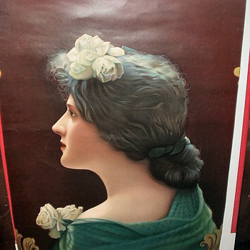 Hamms Lrg Poster Size Antique Calendar print of Victorian Lady - Advertising