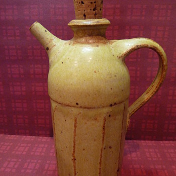 ceramic jug with cork stopper and a spout - Art Pottery