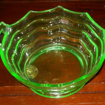 Day-glo Green Depression Glass Bowl - Glassware