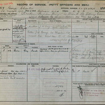 HMAS Perth Service Record - Military and Wartime