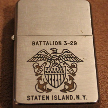 1950&#039;s Zippo Lighter Battalion 3-29 Staten Island NY - Tobacciana