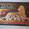 1951 Rare CV Champagne Velvet Tin Composite Please Pay When Served Million Dollar Beer Sign Irish Setter Dogs Terre Haute Ind