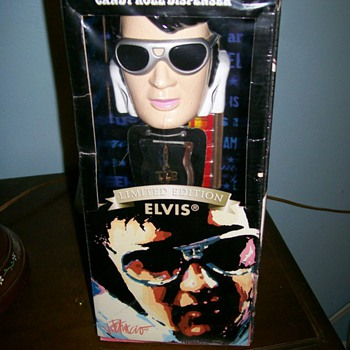Giant Elvis Pez and some Elvis Dolls and Picture .Misc stuff :-)