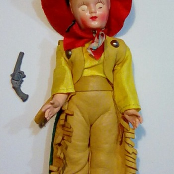 Vintage Berman Buckskin Doll, Cowboy Pete leather outfit - Dolls