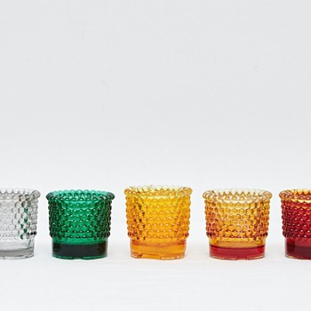 Pressed Hobnail Glass Candle Holders (Various Countries), 1930's and Onwards