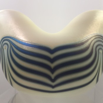 Charles Lotton Opal Vase with Blue Luster Wave Decoration, 1972 - Art Glass
