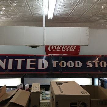 Old porcelain united food store sign - Advertising