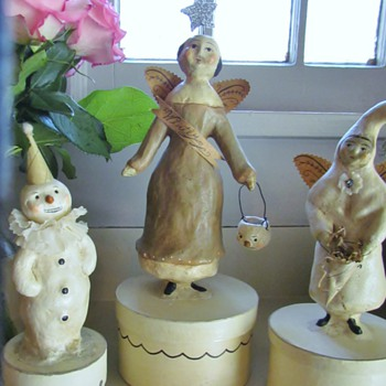 Winter Carnival Angel, Winter White Angel, and Snowman Clown