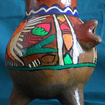 Mexican? Redware/Terra Cotta  Hand Painted Three Legged Pot   - Art Pottery