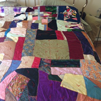 Patchwork Multi-Color Slik Panal Handmade Quilt Circa 1910 - Queen - Sewing