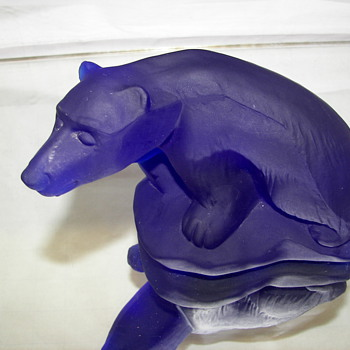 Murano Guido Ferro Blue Polar Bear  - Art Glass
