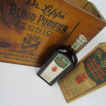 Dr. Lippi's Blood Purifier Tonic, FULL sealed amber bottle & original wood crate - Bottles