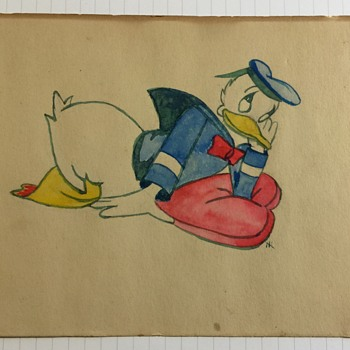 Donald Duck Water Color Drawing Unknown Artist