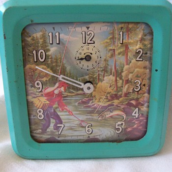Vintage Animated Fly Fisherman Alarm Clock - Ingraham Co.