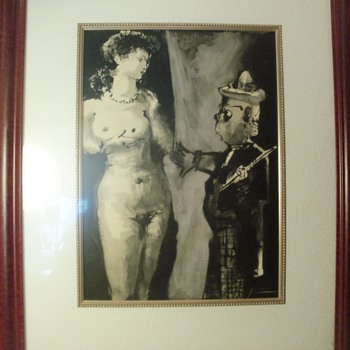 "Pencil signed Picasso, ""The Artist and His Model"""
