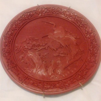 CINNABAR CRANE PLATE - Asian