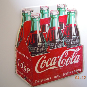 "1954 Die-Cut Coca-Cola Six-Pack Sign 11""x12"" - Coca-Cola"