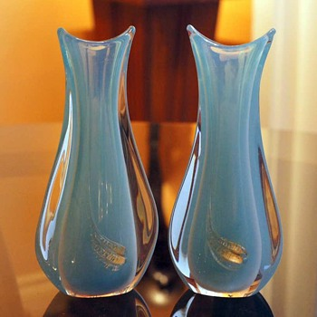 Blue Opaline Murano Vases - A Pair Attributed to Cenedese - Art Glass