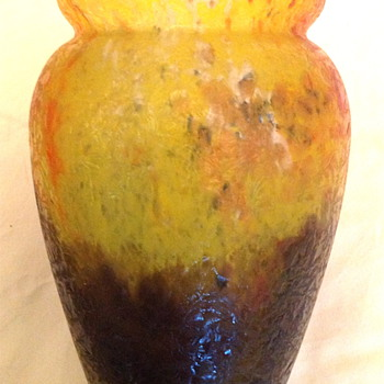 Czech : Chipped Ice / Glue Chip Yellow and Blue Vase - Art Glass