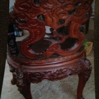 Dragon Among the Clouds Antique Chinese Dragon Hand Carved Chair