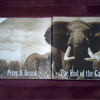 "Book,""The End of the Game"", signed, with design, by photographer/writer Peter Beard"