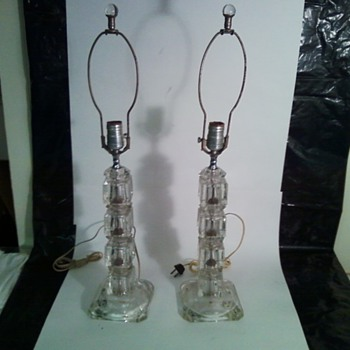Etched, Clear, Sectioned Lucite(?) Table Lamps, 1940s