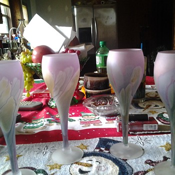 Reuven satin glass goblets - Art Glass