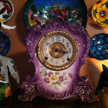 Royal Bonn ansonia porcelain clock