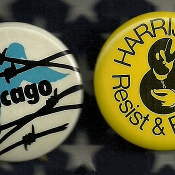 1968 Chicago DNC Chicago 7 & Harrisburg 8 Pinback Button's - Medals Pins and Badges