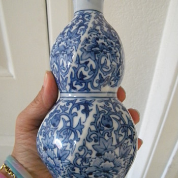 Vintage Japanese Blue and White Porcelain Double Gourd Vase Signed  