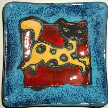 Marmaca Spotted Cat Kitten - Italian Pottery - San Marino - Art Pottery