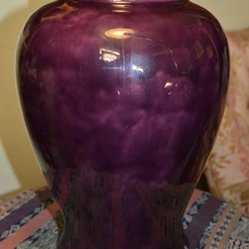 Large Urn with a Mulberry Glaze - signed CFK - Art Pottery