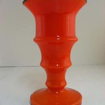 KRALIK DECO TANGO RED  VASE, POLISHED PONTIL.