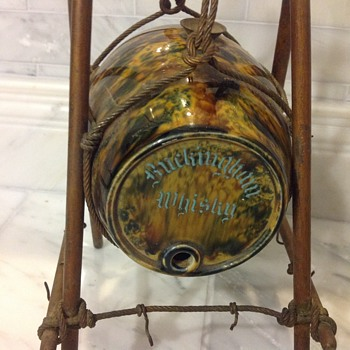 Buckingham Whiskey Pottery Barrel Advertisement