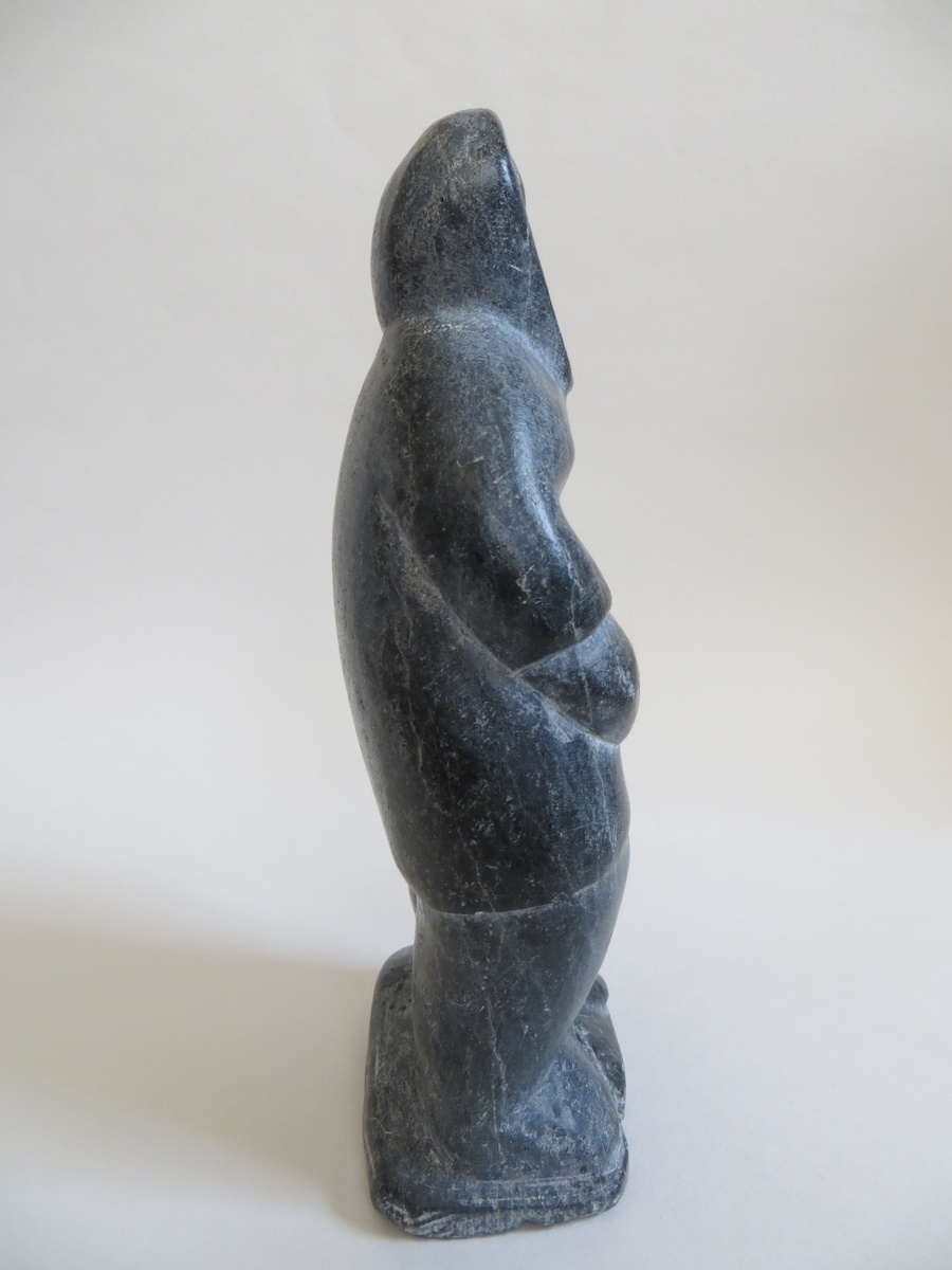 Eskimo stone carving man quot high signed and numbered