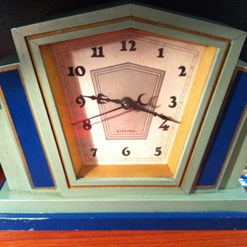 Wooden Art Deco Clock