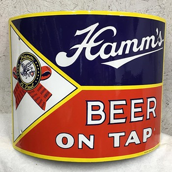 "Late 30's Hamm's Beer On Tap Porcelain Corner Sign ""After/Before"""