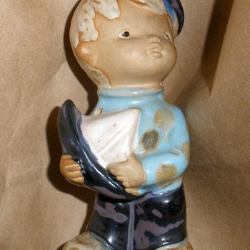 1970's Boy with Sailboat Stoneware Figurine Mystery Maker!