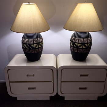 Mid Century Art Deco Plaster Table Lamps on Vladimir Kagan Nightstands