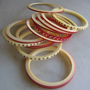 14 assorted celluloid bangles  - Costume Jewelry