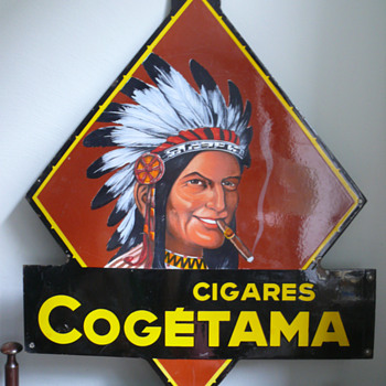 cogetama cigares two sided sign 1936 - Advertising