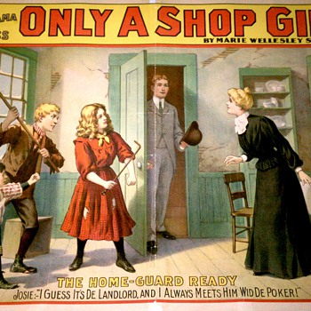 "Original ""Only A Shop Girl"" Stone Lithograph Poster - Posters and Prints"