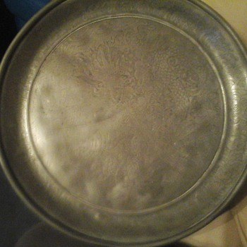 Oriental Pewter Dragon Plate/ tray (CUT HING)