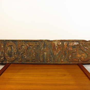 "Old Embossed Metal ""Northwest"" Transportation Sign"