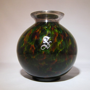 Fantastic Kralik Ball Vase Sterling Silver applied rim and a Silver applied letter S - Art Glass
