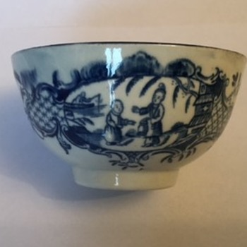 Antique Transfer Ware Worcester Tea Bowl and Saucer