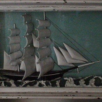 Ship Diorama By William H. Jones 1926 Conduit Maine - Visual Art
