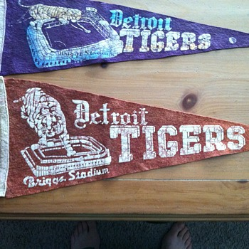 Need help identifing 2 Vintage Detriot Tigers Pennants - Baseball