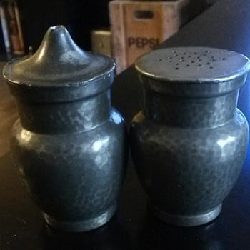 James Dixon & sons pewter salt and pepper