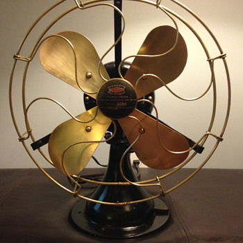 Very rare antique Stewart's Old Mint Gold Standard Brass Fan
